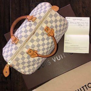 AUTH Louis Vuitton Azur Speedy 30 Bag+RECEIPT